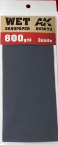 AK Interactive  AK Acrylic Wet Sandpaper Sheets 600 Grit (3) AKI9073