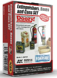 AK Interactive  1/24 Doozy Series: Fire Extinguishers, Crates & Cans Set (7) (Resin) AKIDZ14