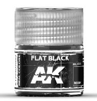 AK Interactive  AK Real Colors Real Colors: Flat Black Acrylic Lacquer Paint 10ml Bottle AKIRC1