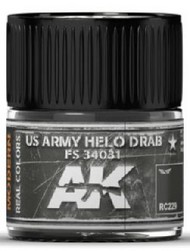 Real Colors: US Army Helo Drab FS34031 Acrylic Lacquer Paint 10ml Bottle #AKIRC229