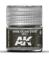 AK Interactive  RealColors Real Colors: Dark Olive Drab Nº31 Acrylic Lacquer Paint 10ml Bottle AKIRC25