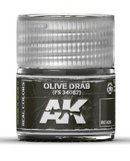 AK Interactive  RealColors Real Colors: Olive Drab FS34087 Acrylic Lacquer Paint 10ml Bottle AKIRC26