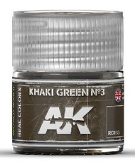 AK Interactive  RealColors Real Colors: Khaki Green Nº3 Acrylic Lacquer Paint 10ml Bottle AKIRC33