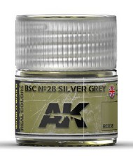 AK Interactive  RealColors Real Colors: BSC Nº28 Silver Grey Acrylic Lacquer Paint 10ml Bottle AKIRC38