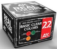 AK Interactive   RealColors Real Colors: Basic Clear Colors Acrylic Lacquer Paint Set (3) 10ml Bottles AKIRCS22