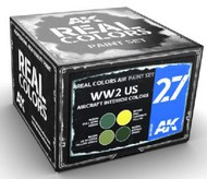 Real Colors: WWII US Aircraft Interior  Acrylic Lacquer Paint Set (4) 10ml Bottles #AKIRCS27
