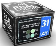 Real Colors: Luftwaffe Fighter 1941-1944 Acrylic Lacquer Paint Set (4) 10ml Bottles #AKIRCS31