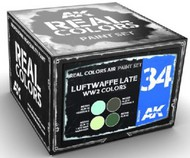 Real Colors: Luftwaffe Late WWII Acrylic Lacquer Paint Set (4) 10ml Bottles #AKIRCS34