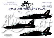 Alley Cat  1/32 BAe Hawk T.1 208(R) Sqn RAF Valley; 100 Sqn RAF Leeming; 19(R) Sqn RAF Valley. All overall black. Includes serial and code letters and numbers to do all aircraft in each squadron. Data for three aircraft. ACD32003