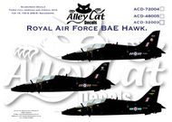 Alley Cat  1/48 BAe Hawk T.1 208(R) Sqn RAF Valley; 100 Sqn RAF Leeming; 19(R) Sqn RAF Valley. All overall black. Includes serial and code letters and numbers to do all aircraft in each squadron. Data for three aircraft. ACD48005