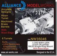 Alliance Model Works  1/350 WWII USN 5 inch 38 Caliber Single Ring Mount w/Blast Bags ALWNW35046