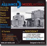 Alliance Model Works  1/350 WWII USN 5 inch 38 Caliber Single Ring Mount wo/Blast Bags ALWNW35047