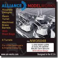 Alliance Model Works  1/350 WWII USN 5 inch 38 Caliber Mk38 Twin Mount w/Blast Bags ALWNW35048