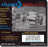 Alliance Model Works  1/350 WWII USN 5 inch 38 Caliber Mk38 Twin Mount wo/Blast Bags ALWNW35049
