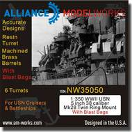 Alliance Model Works  1/350 WWII USN 5 inch 38 Caliber Mk28 Twin Ring Mount w/Blast Bags ALWNW35050