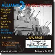 Alliance Model Works  1/350 WWII USN 5 inch 38 Caliber Mk28 Twin Mount wo/Blast Bags ALWNW35051