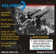 Alliance Modelworks  1/350 WWII USN 40mm Bofors twin mounted x 6 twin guns NW350029