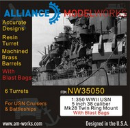 Alliance Modelworks  1/350 WWII USN 5 inch 38 Caliber Mk28 Twin Mount with Blast Bags NW35050
