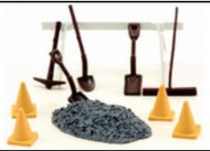 AMERICAN HERITAGE MODELS  O Road Repair 10pc Set (Barricade, Shovels, Broom, Cones, etc) (D)<!-- _Disc_ --> AHT43922