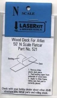 AMERICAN MODEL BUILDERS  N N ATL 50' Flatcar Wood Deck (2) AME521