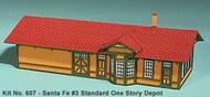 AMERICAN MODEL BUILDERS  N Santa Fe #3 Standard 1-Story Depot AME607