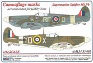 AML Czech Republic  1/32 Supermarine Spitfire Mk.Vb, RFoD camouflage pattern paint mask AMLM33002
