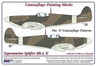 AML Czech Republic  1/32 Supermarine Spitfire Mk.I, Mk.II The 'A' camouflage pattern paint mask AMLM33003