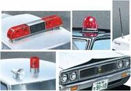 Patrol Car Parts Set C: roof red light old type, rising sun, revolving & steamline lights, antenna, siren - Pre-Order Item #AOS59760