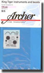 Archer Fine Transfers  1/16 King Tiger Instruments and Bezels AFT16015
