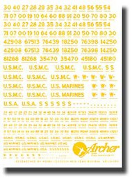 Archer Fine Transfers  1/35 USMC Vehicle Registration Codes (Yellow) AFT35019Y