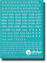 Archer Fine Transfers  1/35 US Army Vehicle Registration Codes (White) AFT35020W