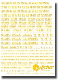Archer Fine Transfers  1/35 USMC Vehicle Registration Codes (Yellow) AFT35020Y