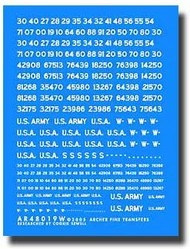 Archer Fine Transfers  1/48 US Vehicle Registration Codes (White) (Non-Stencil Style) AFT48019W