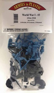 Armies in Plastic  1/32 WWI #3 1916-18: 10 British, 10 Germans, 2 Mtd Figures AIN5774