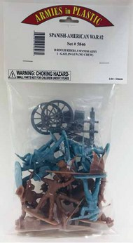 Armies in Plastic  1/32 Spanish American War #2: 10 Rough Riders, 8 Spanish Army, Gatlin Gun AIN5846