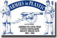 Armies in Plastic  1/32 American Civil War Union Artillery Crew (5) w/24-Pounder Cannon- Net Pricing AIN5499