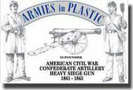 Armies in Plastic  1/32 American Civil War Confederate Artillery Crew (5) w/24-Pounder Cannon- Net Pricing AIN5501