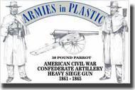 Armies in Plastic  1/32 American Civil War Confederate Artillery Crew (5) w/30-Pound Parrot Cannon- Net Pricing AIN5502