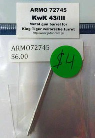 Armo  1/72 KwK 43/III Metal Gun Barrels - King Tiger w/Porsche t ARMO72745