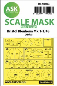 Bristol Blenheim Mk.I wheels and canopy masks (outside only)* #200-M48026