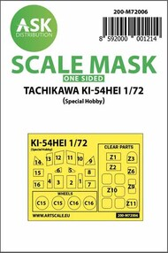 Tachikawa Ki-54 Hei Kabuki wheels and canopy masks (outside only)* #200-M72006