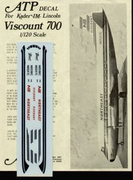 ATP Airliners Decals  1/120 Vickers Viscount 700 (Kader/IM/Lincoln kits) NORTHEAST . ATP102