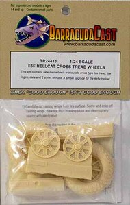 BarracudaCast  1/24 F6F Hellcat Cross Tread Wheels (AFX kit) BARBR24413