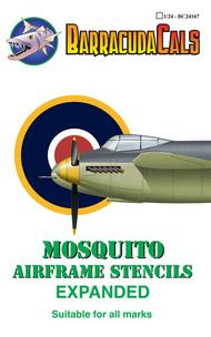 Barracuda Studio  1/24 Mosquito Airframe Stencils - Expanded BARBC24167