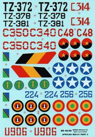 Berna Decals  1/48 African Air Forces Mikoyan MIG-21 Part 2 (was BER48079 revised and augmented) BER48098
