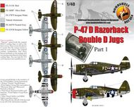 Bombshell  1/48 Republic P-47D Thunderbolt 'Razorback' (3) 28412 PZ-R 486th FS/352nd FG Maj General Luther Richmond SweetieG two versions; 226293 UN-L 63rd FS/56th FG Lt Armand Laflam Belle of BelmontG with D-Day stripes. both OD/grey BS48011
