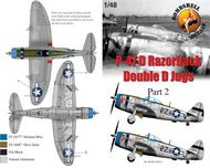 Bombshell  1/48 Republic P-47D Thunderbolt Bubble 405th FG, 9th Air Force (2) 229173 2Z-V Lt Clarke Bresmeth Rain DearG; 420437 2Z-J Lt Robert Wagner Phyl DarlinG both overall natural metal with blue nose. BS48012