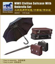 Bronco Models  1/35 WW2 Civilian Suitcase with Umbrella Set BOM3521