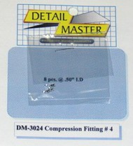 Detail Master Accessories  1/24-1/25 Compression Fitting #4 (8pc) DTM3024