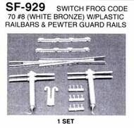 DETAILS WEST  HO Switch Frog Code 70 #8 w/Guard Rails (White Bronze) Set DTW929